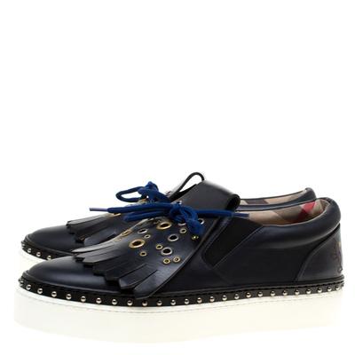 Burberry Navy Blue Leather Kiltie Fringe Slip On Sneakers Size 37 184120 - 3