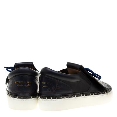 Burberry Navy Blue Leather Kiltie Fringe Slip On Sneakers Size 37 184120 - 4