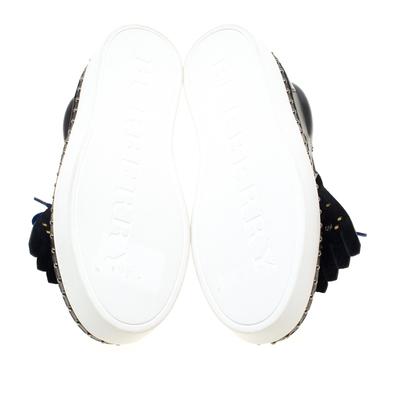 Burberry Navy Blue Leather Kiltie Fringe Slip On Sneakers Size 37 184120 - 5