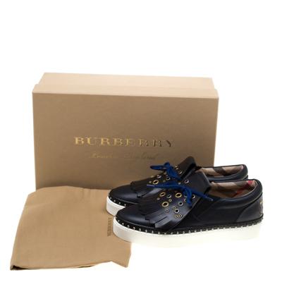 Burberry Navy Blue Leather Kiltie Fringe Slip On Sneakers Size 37 184120 - 8