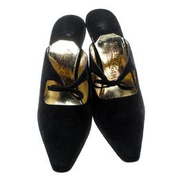 Salvatore Ferragamo Black Suede Anamur Pointed Toe Mules Size 40 193999