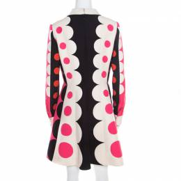 Valentino Multicolor Geometric Pattern Wool and Silk Long Sleeve Plunge Neck Dress M 194090