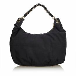 Fendi Black Zucca Canvas Mia Hobo Bag 193258