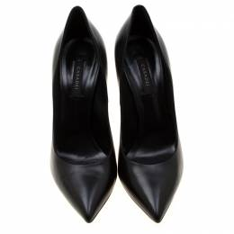 Casadei Black Leather Pointed Toe Pumps Size 40 209260