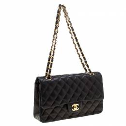 Chanel Black Quilted Leather Medium Classic Single Flap Bag 209459