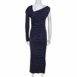 M Missoni Purple Animal Print Knit Asymmetric Sleeve Maxi Dress L 210653