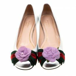 Gucci Metallic Silver Leather Web Bow Rose Detail Ballet Flats Size 36 210358
