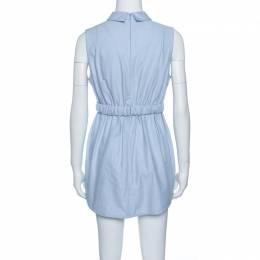 Carven Blue Chambray Gathered Waist Sleeveless Dress M 142207