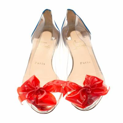 Christian Louboutin Two Tone PVC And Leather Tip Bow Ballet Flats Size 37 186761 - 3