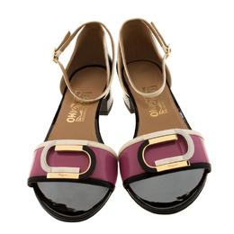 Salvatore Ferragamo Tricolor Patent Leather Ankle Strap Sandals Size 40.5 209768