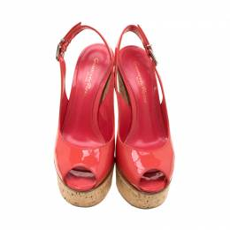 Gianvito Rossi Pink Patent Leather Slingback Wedge Sandals Size 35 210983