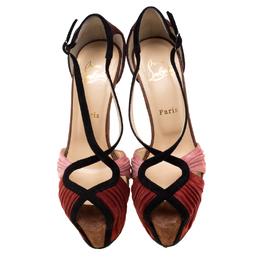 Christian Louboutin Multicolor Suede Criss Cross Platform Sandals Size 38 210700