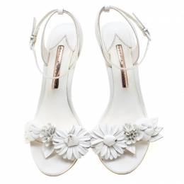 Sophia Webster White Leather Lilico Sandals Size 39.5 210689