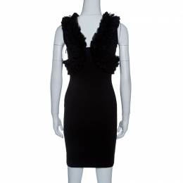 Dsquared2 Black Jersey Ruffle Trim Sleeveless Bodycon Dress S 143413
