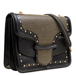 Alexander McQueen Black Leather Heroine Studded Shoulder Bag 170308
