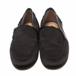 Giuseppe Zanotti Design Black Satin Salmon Loafers Size 36 183184