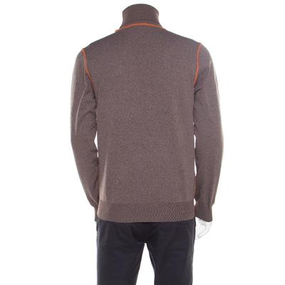 Prada Brown and Grey Contrast Top Stitch Detail Turtleneck Sweater L 185883 - 2