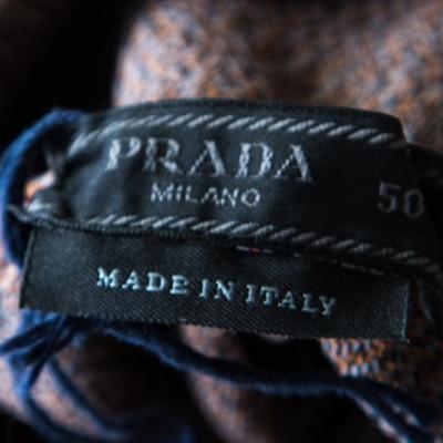 Prada Brown and Grey Contrast Top Stitch Detail Turtleneck Sweater L 185883 - 4