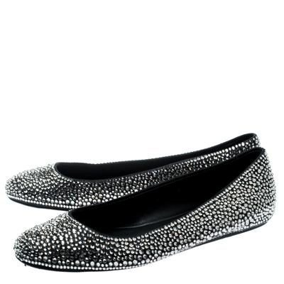 Le Silla Black Suede Crystal Embellished Ballet Flats Size 41 187011 - 3