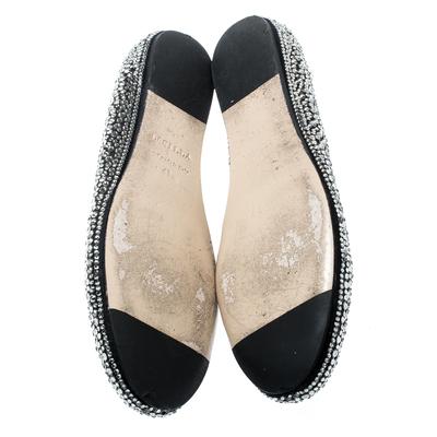 Le Silla Black Suede Crystal Embellished Ballet Flats Size 41 187011 - 5