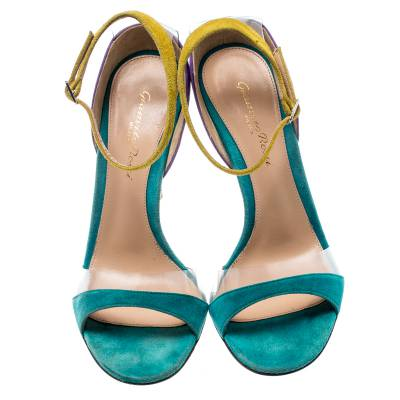 Gianvito Rossi Tricolor Suede And PVC Natalie Ankle Strap Sandals Size 36.5 187184 - 2