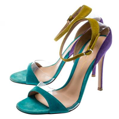 Gianvito Rossi Tricolor Suede And PVC Natalie Ankle Strap Sandals Size 36.5 187184 - 3