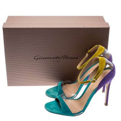 Gianvito Rossi Tricolor Suede And PVC Natalie Ankle Strap Sandals Size 36.5 187184 - 7