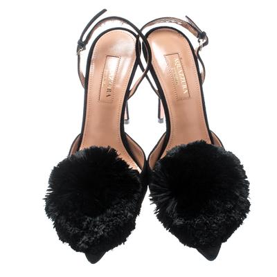 Aquazzura Black Suede Powder Puff Pointed Toe Slingback Sandals Size 36 187236 - 3