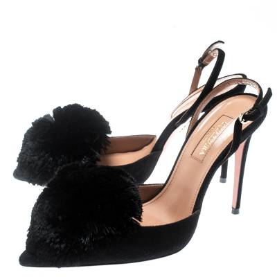 Aquazzura Black Suede Powder Puff Pointed Toe Slingback Sandals Size 36 187236 - 4
