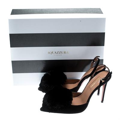 Aquazzura Black Suede Powder Puff Pointed Toe Slingback Sandals Size 36 187236 - 8