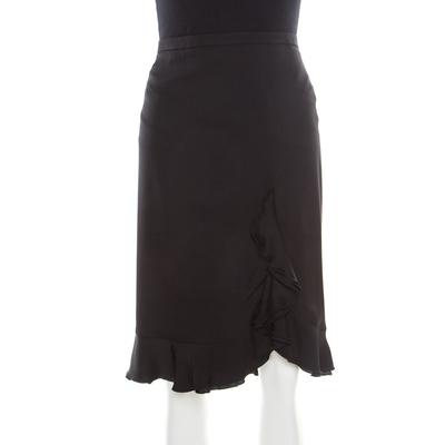 Armani Collezioni Black Silk Ruffle Detail Skirt XL 185691 - 2