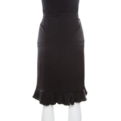 Armani Collezioni Black Silk Ruffle Detail Skirt XL 185691 - 3