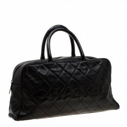 Chanel Black Quilted Leather Enamel Boston Bag 193913