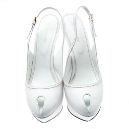 Sergio Rossi White Cachet Peep Toe Platform Slingback Sandals Size 39.5 193989