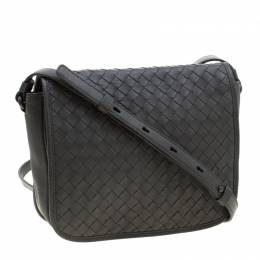 Bottega Veneta Grey Intrecciato Leather Crossbody Bag 211213