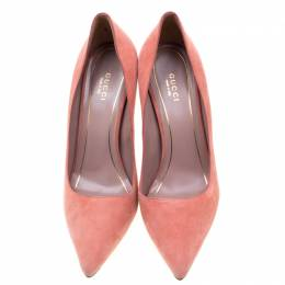 Gucci Pink Suede Adina Horsebit Detail Pointed Toe Pumps Size 38 210756