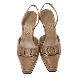 Salvatore Ferragamo Brown Leather Slingback Sandals Size 37 134026