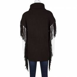 Ralph Lauren Dark Chocolate Brown Fringe Detail Turtle Neck Sweater S 119927
