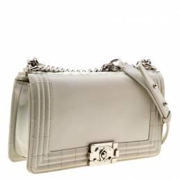 Chanel Pearl Patent Leather Medium Boy Flap Bag 176334