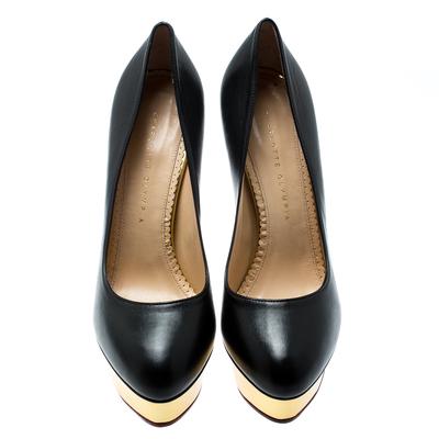Charlotte Olympia Black Leather Dolly Platform Pumps Size 40 186932 - 2