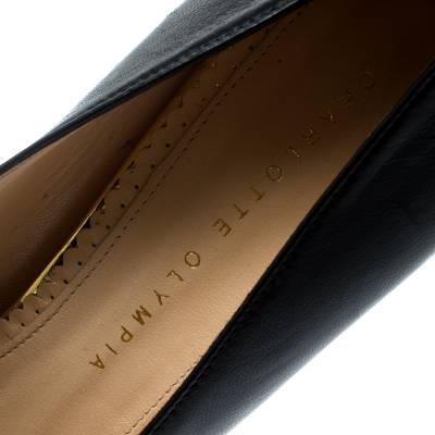 Charlotte Olympia Black Leather Dolly Platform Pumps Size 40 186932 - 6