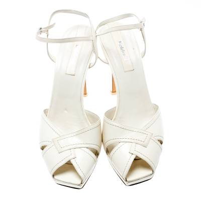 Baldinini White Leather Ankle Strap Sandals Size 39 184042 - 2