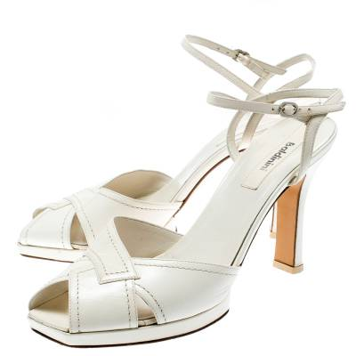 Baldinini White Leather Ankle Strap Sandals Size 39 184042 - 3