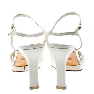 Baldinini White Leather Ankle Strap Sandals Size 39 184042 - 4