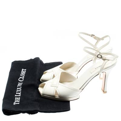 Baldinini White Leather Ankle Strap Sandals Size 39 184042 - 7