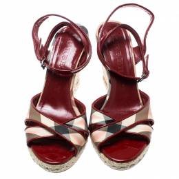 Burberry Red Patent Leather And Novacheck Canvas Espadrille Wedge Sandals Size 40 188522