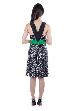 Gucci Monochrome Polka Dot Print Silk Contrast Waistband Sleeveless Dress M 211403