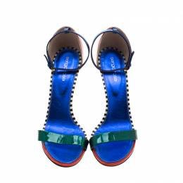 Sergio Rossi Multicolor Patent Leather Ankle Strap Open Toe Sandals Size 40 210925