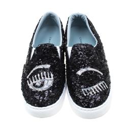 Chiara Ferragni Metallic Black Sequins Flirting Slip On Sneakers Size 39 211188