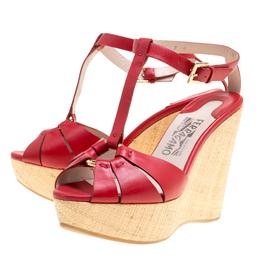 Salvatore Ferragamo Red Leather T-Strap Platform Wedge Sandals Size 37.5 156714